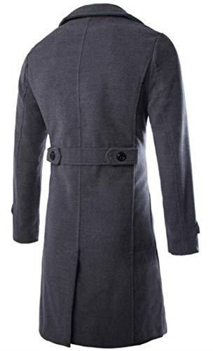 Hommes Laine Manteau Boutonnage Homme Manches En Vêtements Double Longues Black Kangqi À Pour De XnqtEwvAf