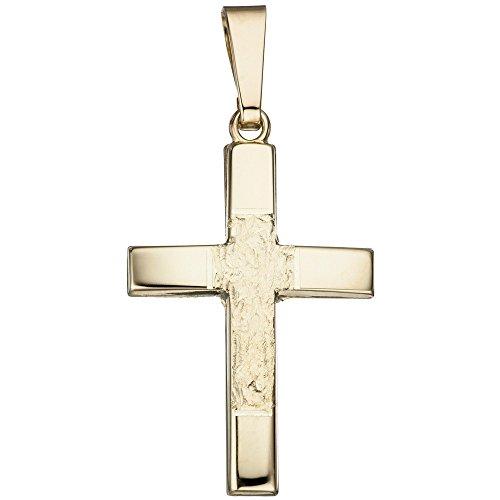 Pendentif Croix 26,6mmx16,4mm en or jaune 585teilgehämmert or Croix