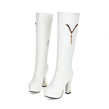 RTRY Women'S Shoes Customized Materials Leatherette Fall Winter Riding Boots Fashion Boots Boots Chunky Heel Round Toe Knee High Boots Zipper US9.5-10 / EU41 / UK7.5-8 / CN42 HG1IqjmiU