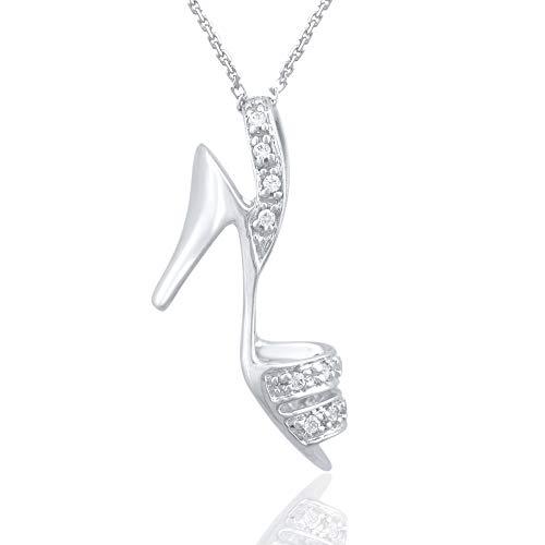 Diamond Sandal Pendant - 1/10 Carat Natural Diamond Pendant Necklace 925 Sterling Silver (HI Color, I3 Clarity) Diamond Studded Sandal Pendant Necklace for Women Diamond Jewelry Gifts for Women
