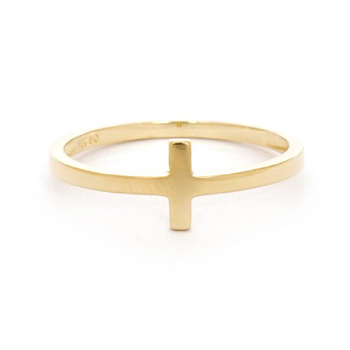 Beauniq 14k Yellow Gold Sideways Cross Ring, size 7