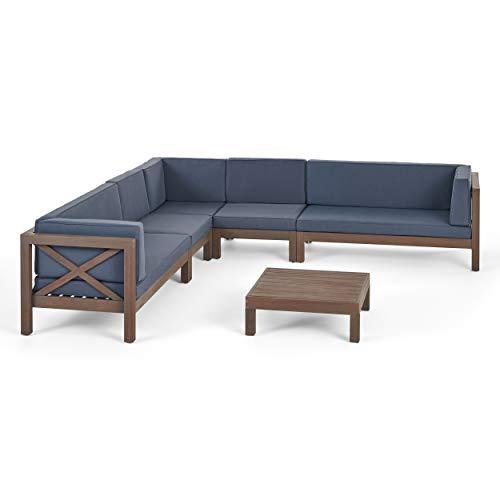 Bunny Outdoor 7 Seater Acacia Wood Sectional Sofa Set, Gray Finish and Dark Gray