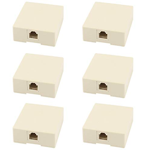 Yootop 6Pcs Rj11 6P4C Surface Mount Single Port Telephone Modular Jack Self Adhesive