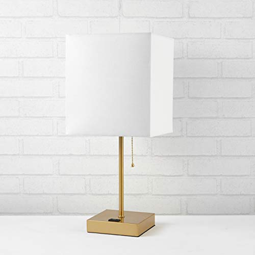 Urban Shop Fabric White Shade Metallic Base Lamp
