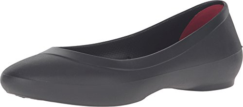 crocs Women's Lina Ballet Flat, Black, 9 M US (Crocs Women Flat Shoes)