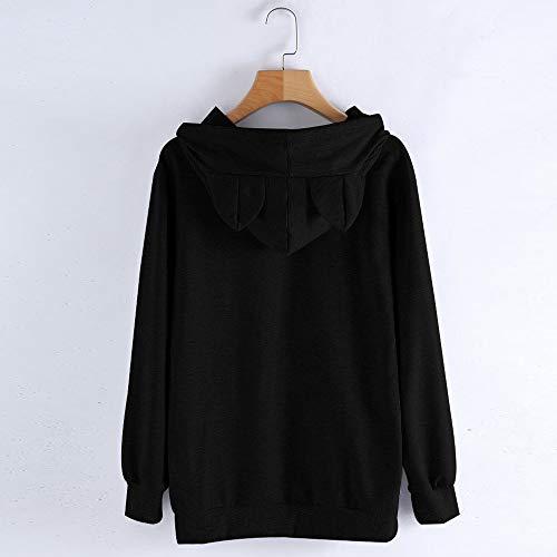 Épais Capuche Noir Hoodies Manteau Chat Femmes Mode Sylar Imprimer Outwear Chandail Simple Chaud De La Longues Un Pull Hiver Manches tZFqwaHq