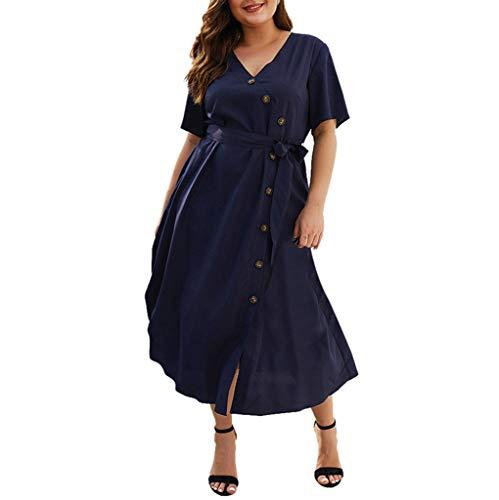 Women's Solid V Neck Button Design Wrap Dress Casual Mini Dress Bandage Summer Party Dress Navy ()