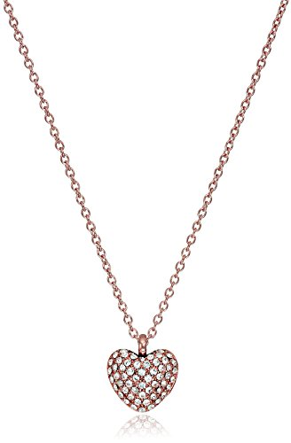 Michael Kors Rose Gold-Tone and Pave Heart Pendant Necklace, 20