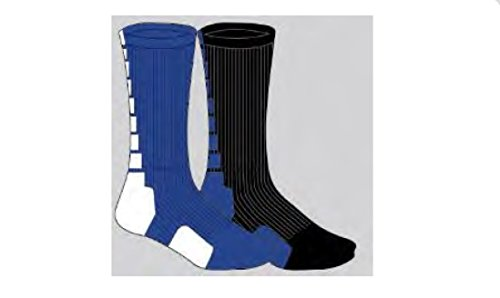 Pack of 2 Long Unisex Basketball Athletic Socks for Basketball, Running or Everyday Wearing - Sports Compression Dri Fit Crew Socks for Men and Women - Black Blue / - Apparel Running Outlet