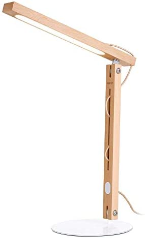AUKEY Desk Lamp, LED Table Lamp with Natural Wood Design, Modern Reading Lamp with Touch-Sensitive Dimmer for Bedroom, Study and Office
