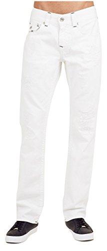 True Religion Men's Straight Midnight Stitch Jean w/ Flap and Rips in White (32)