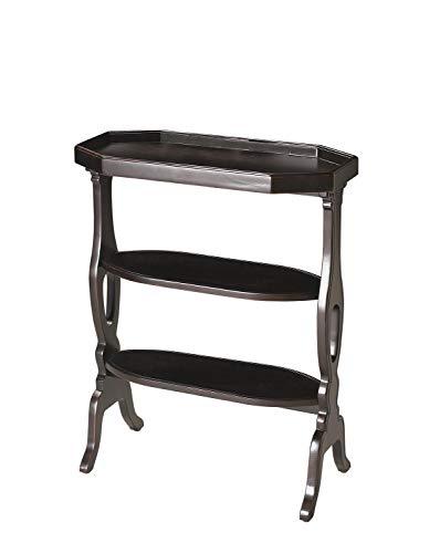 Butler Plum Black Black Octagonal Rubberwood Solids, MDF, Cherry Veneer Hadley Plum Black Accent Table
