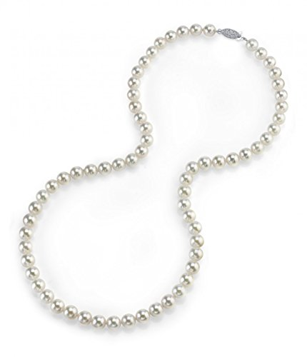 THE PEARL SOURCE 14K Gold 5.0-5.5mm Round Genuine White Japanese Akoya Saltwater Cultured Pearl Necklace in 17