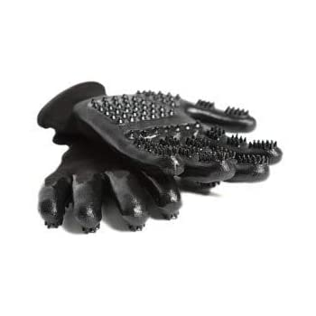 #1 Ranked, Award Winning Handson Gloves for Shedding, Bathing, Grooming, De-Shedding Horses, Dogs, Cats, Livestock, Small Pets BLK Large
