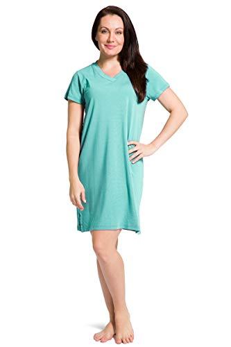 Organic Knit Dress - Fishers Finery Women's Ecofabric Bamboo Viscose Nightgown Knit Dress (Trqse, XL) Turquoise