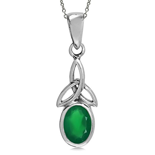 Natural Emerald Green Agate 925 Sterling Silver Triquetra Celtic Knot Pendant w/18 Chain Necklace