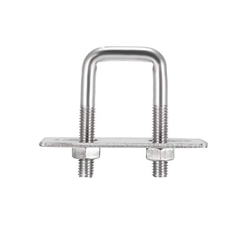 YXQ M6 Square U-Bolts 20mm Inner Width 304 Stainless Steel with Nuts Frame Straps Mounting Plate(6Pcs)