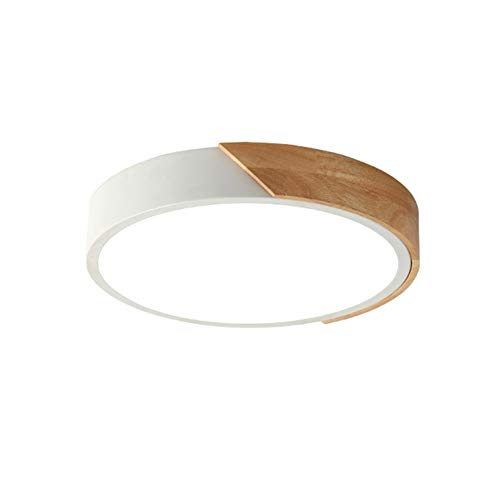 VinDeng Nordic Wood LED Ceiling Light Flush Mount, 36W 20 inch Round Ceiling lamp Acrylic Simple Bedroom Living Room-White Warm White