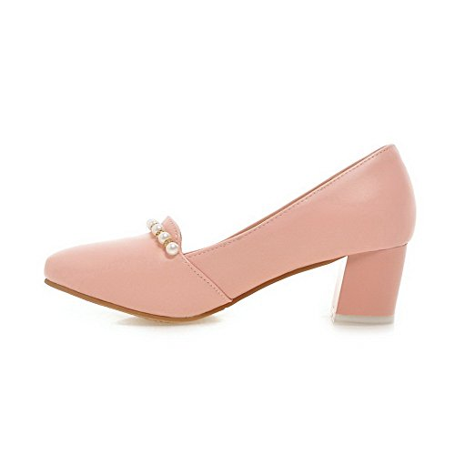VogueZone009 Women's Kitten Heels Solid Pull On Soft Material Round Closed Toe Pumps-Shoes Pink It3uu