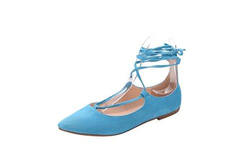 Mila Lady Irma Mode Nouvelle Dentelle Point Toe Chaussures Plates. Bleu