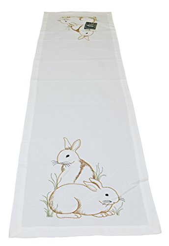 Embroidered Spring Bunny Table Runner 14x51 inches Cotton