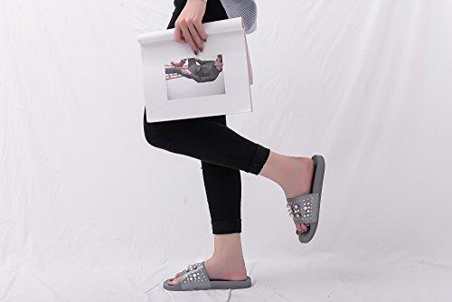 Mila Lady Sandy Womens Fashion Slipper With Pearl and Rhinestone Upper Slip On Silky Slide Sandal Gray r9NXnJO