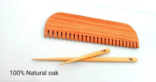 12 inch weaving comb with 2 needles Oak
