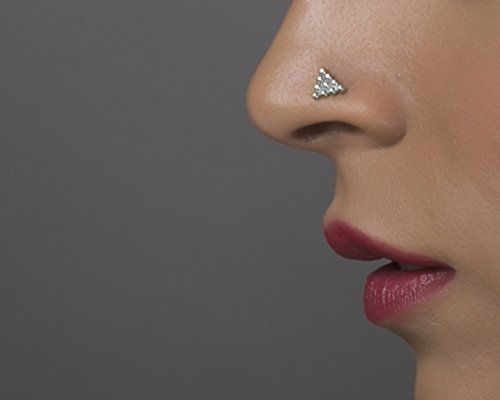 0e9930bd6 Image Unavailable. Image not available for. Color: Indian Style Nose Stud,  Unique Silver Triangle Tribal Nose Ring, Fits Tragus Piercing,