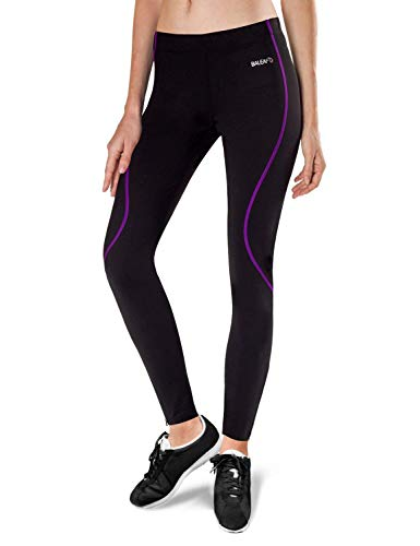 BALEAF Women's Thermal Fleece Running Cycling Tights Black Purple Size L (Best Women's Winter Running Tights)