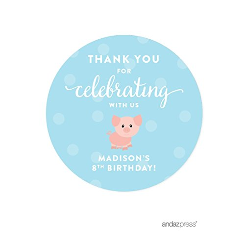 Andaz Press Personalized Birthday Round Circle Labels Stickers, Thank You for Celebrating With Us, Farm Animal Pig, 40-Pack, For Gifts and Party Favors, Custom Name