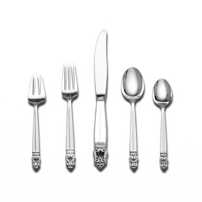Danish Dessert Spoon - Royal Danish Gold Accent 5 Piece Lunch Flatware Set with Dessert Spoon