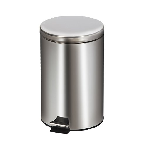 Clinton Medium Round Stainless Steel Waste Receptacle -Step-on Hands Free by Clinton (Image #1)
