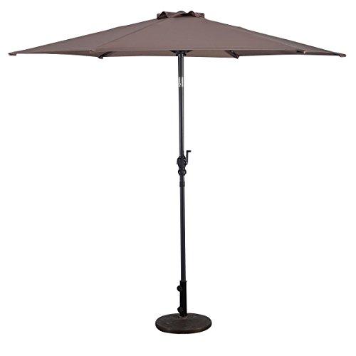 9FT Tan Umbrella Patio Hexagonal Sun Shade UV Protective