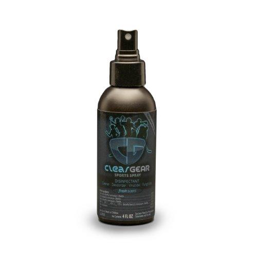 Clear Gear Sports Spray 4 Ounce Bottle - Kills MRSA, Staph, Strep and Eliminates Odors on Athletic Equipment