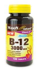 Mason Natural B-12 Sublingual 3,000 mcg 100 Tabs