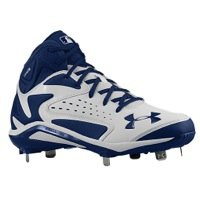 Under Armour Men's Yard Mid St White/Midnight Navy Baseball Cleat 10.5