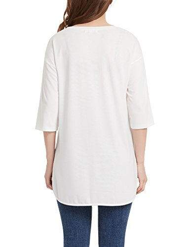Perfashion Women's White Curved Hemline Tunic 3/4 Sleeve Summer Casual by Perfashion (Image #2)