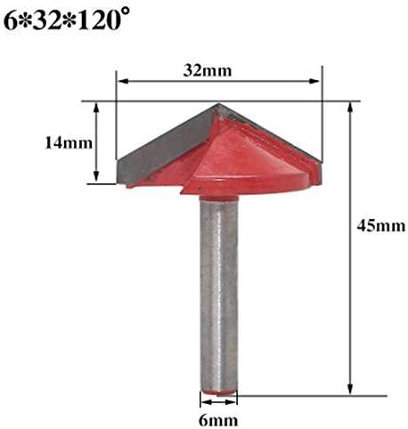 GENERICS LSB-Werkzeuge, 6mm V Bit-1PCS, CNC-VHM-Schaftfräser, Holzbearbeitungsfräser aus Wolframstahl, 3D-Holz-MDF-Fräser, 60 90 120 150 Grad (Cutting Edge Length : 32mm 120degrees)