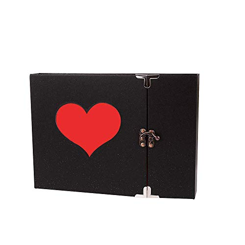 Longpro Vintage Heart Photo Album with Lock, 50 Pages Hand Made DIY Scrapbook Memory Book, Anniversary Photo Album, Wedding Record Album, Guestbook (Single Red Heart)