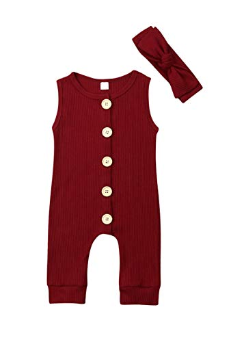 - VISGOGO Newborn Baby Girls Boys Kid Solid Colour Bodysuit Sleeveless Romper Jumpsuit + Headband 2PCS Clothes Sets (A-Wine Red, 0-6 Months)
