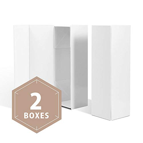 PACKHOME Wine Gift Boxes 13.5x4.5x4 Inches, Bottle Gift Boxes for Liquor and Champagne, Magnetic Closure Collapsible Gift Boxes (2 Boxes/Glossy White)