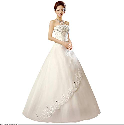 damen es Elegant A Line Chiffon Bridal Wedding Dresses Evening Dress Gown Princess Tube Top Weiß Simple Light Wedding Dress was Thin and Thin,Weiß,L