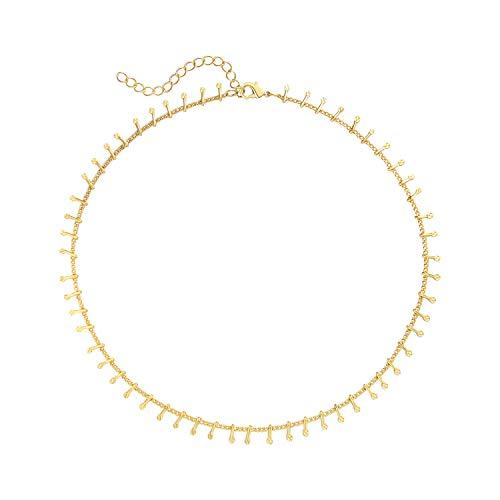 SEUSUK Dangle Choker Necklace Gold Dainty 14K Gold Fill Boho Beach Simple Delicate Handmade Minimalist Cute Charm Jewelry for Women Gift]()
