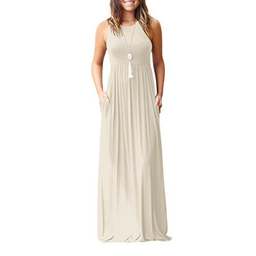 Idingding Long Maxi Dress, Womens Casual A-Line Summer Beach Sleeveless Tank Top Long Dresses, Sleeveless Apricot, L Apricot Sleeveless