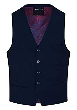 Tarocash Men's Louis Stretch Waistcoat Navy L Polyester Blend Regular Fit Sizes XS-5XL for Going Out Smart Occasionwear Formalwear Vests
