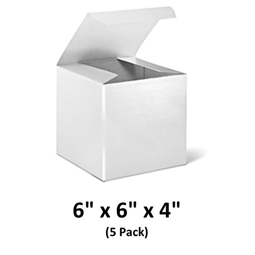 (White Cardboard Tuck Top Gift Boxes with Lids, 6x6x4 (5 Pack) for Gifts, Crafting & Cupcakes | MagicWater Supply)