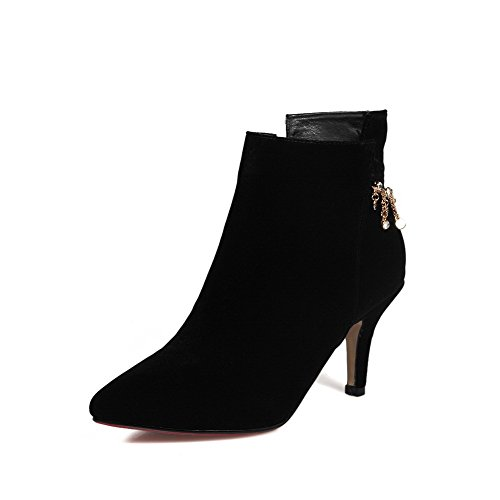 AllhqFashion Toe Women's Pointed Blend Materials Low-Top Solid Closed Toe AllhqFashion Boots B01MEG1F1X Shoes 03da8b