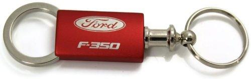 Ford F-350 F350 Red Valet Key Fob Authentic Logo Key Chain Key Ring Keytag Lanyard