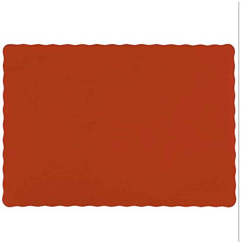 Raise Flat Disposable Paper Placemats, Rust/Terra Cotta, Scalloped Edge, 10