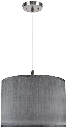 Aspen Creative 71013 2-Light Hanging Pendant Ceiling Light with Transitional Hardback Drum Fabric Lamp Shade, Grey Black, 16 width
